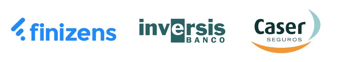 Logotipos de Finizens y sus bancos inversores Caser e Inversis Banco