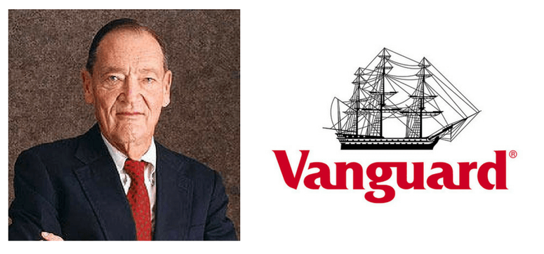 Imagen de John C Bogle y logopito de fondos Vanguard