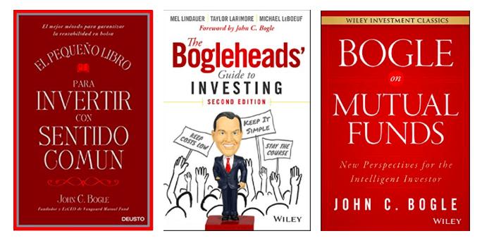 Portadas de los libros disponibles en España y escritos o inspirados en John C. Bogle, fundador de los famosos fondos Vanguard