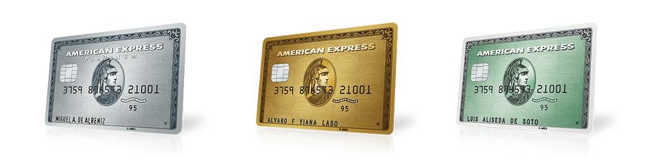 Imagen de las tres tarjetas American Express: Gold, Platinum y básica