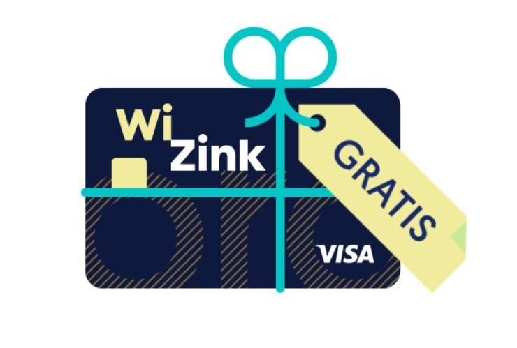 Imagen de la tarjeta wizink con un lanzo que indica que es gratuita