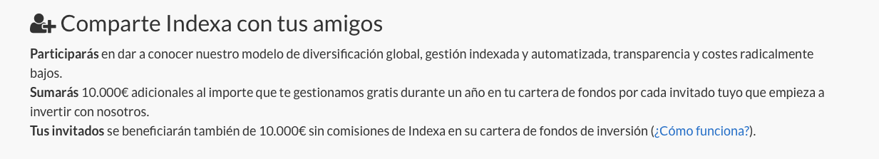 Captura de la sección de invitaciones de Indexa Capital
