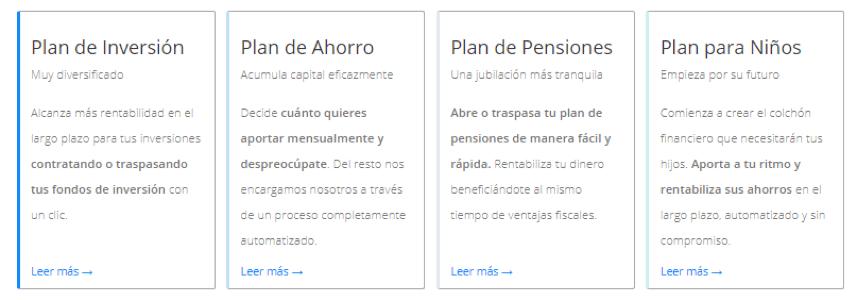 Finizens ofrece 4 tipos de planes de inversión distintos para diferente perfil de inversor