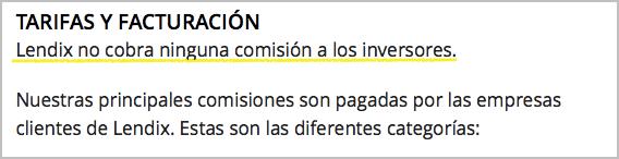 Comisiones a los inversores de Lendix