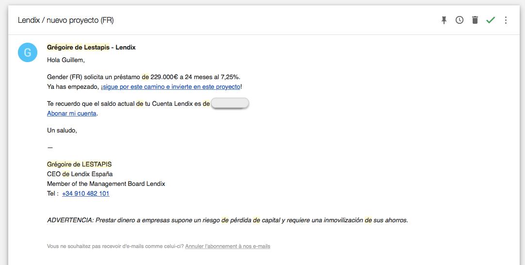 Correo electrónico de aviso de un nuevo proyecto a financiar de Lendix