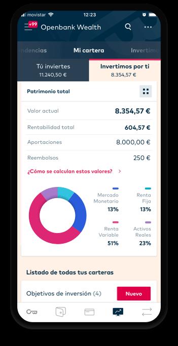 Pantallazo del roboadvisor de openbank se Santander