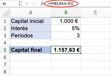 Fórmula de interés compuesto en Excel