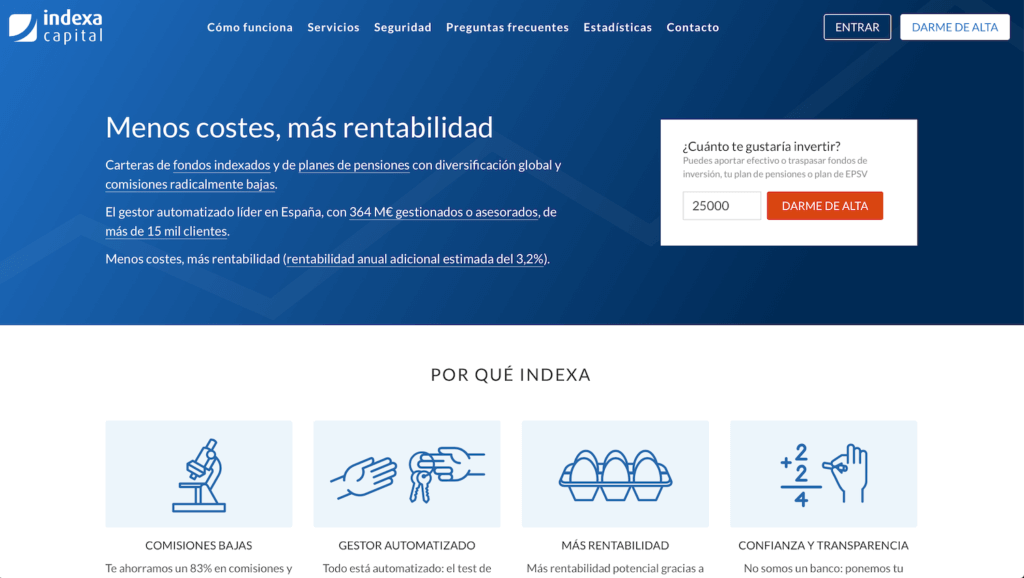 Pantalla inicial de Indexa Capital en 2020