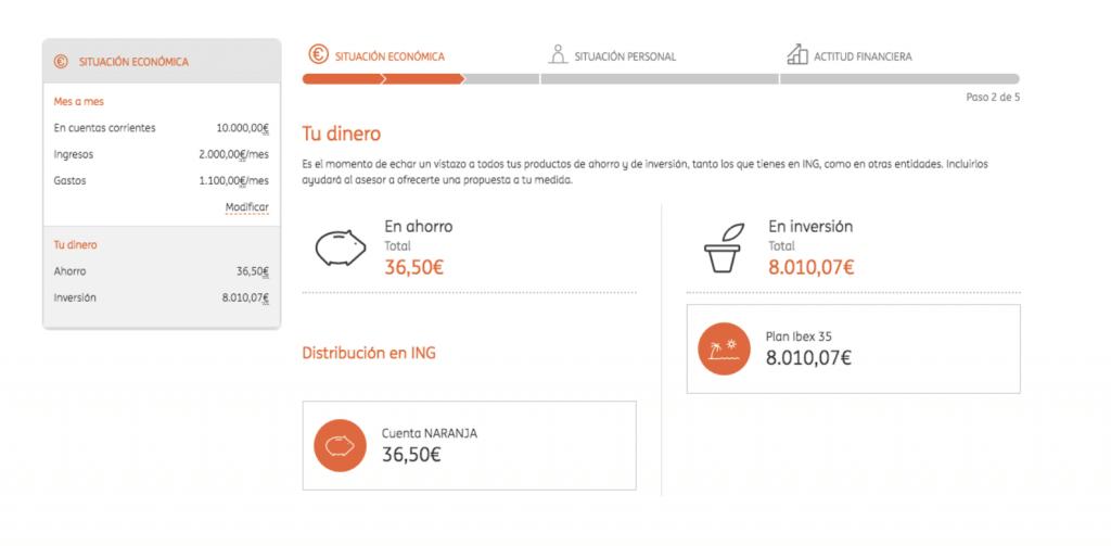 Asesor digital ING para la contratación de sus carteras naranja