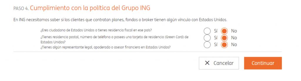 Cuestionario legal ING para invertir en su servicio de inversión naranja +