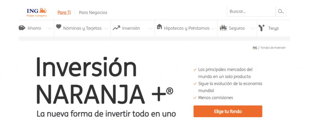 Página principal para utilizar el servicio de Inversión Naranja Plus