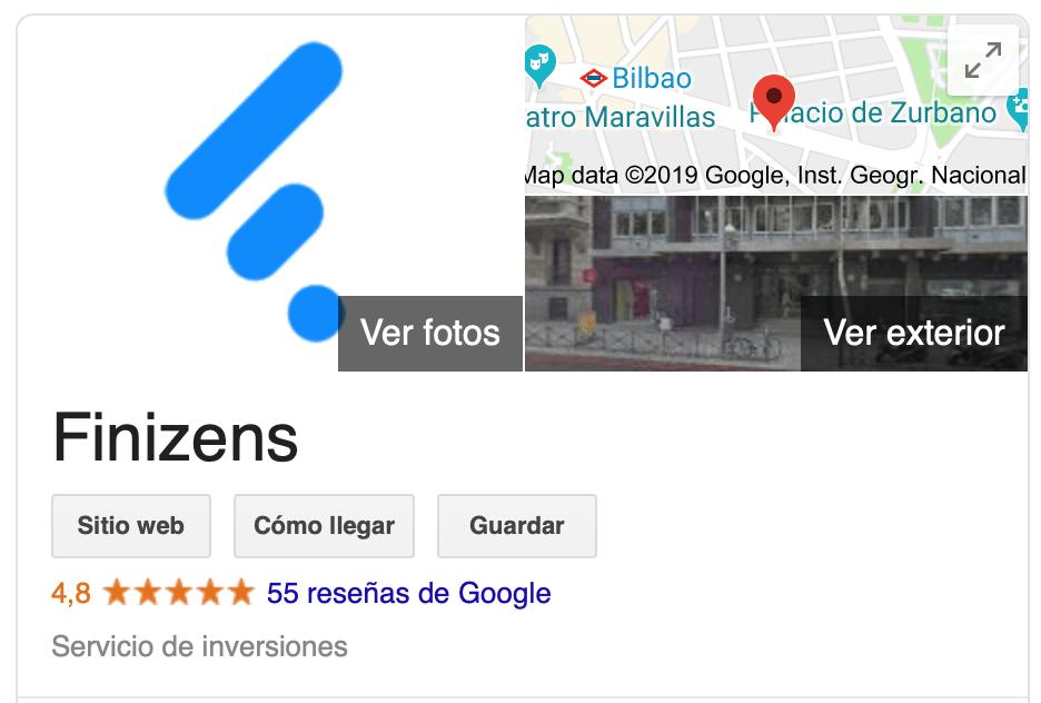 Imagen que muestra las valorciones, opiniones y comentarios de Finizens en Google
