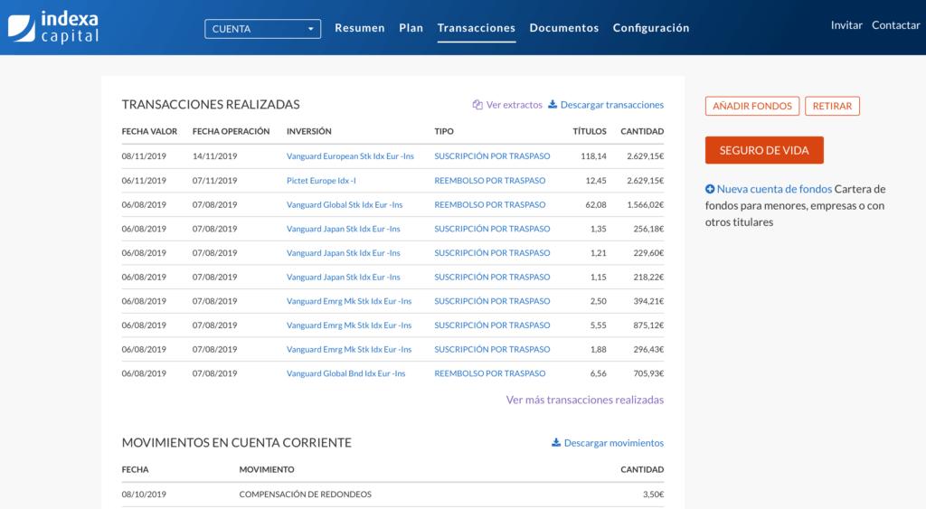 Detalle de las transacciones de la cuenta de Indexa