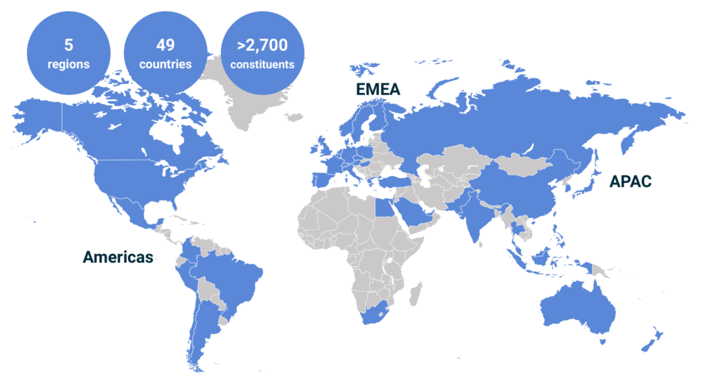 Mapa del índice MSCI ACWI, de todo el mundo desarrollado y emergente