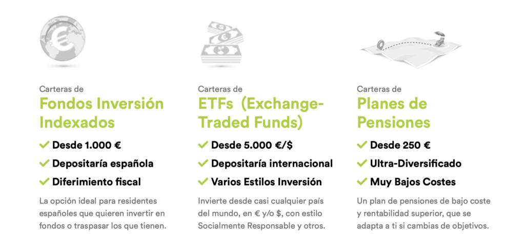 Resumen de las tres categorías de servicios que ofrece inbestme: fondos indexados, etf y planes de pensiones
