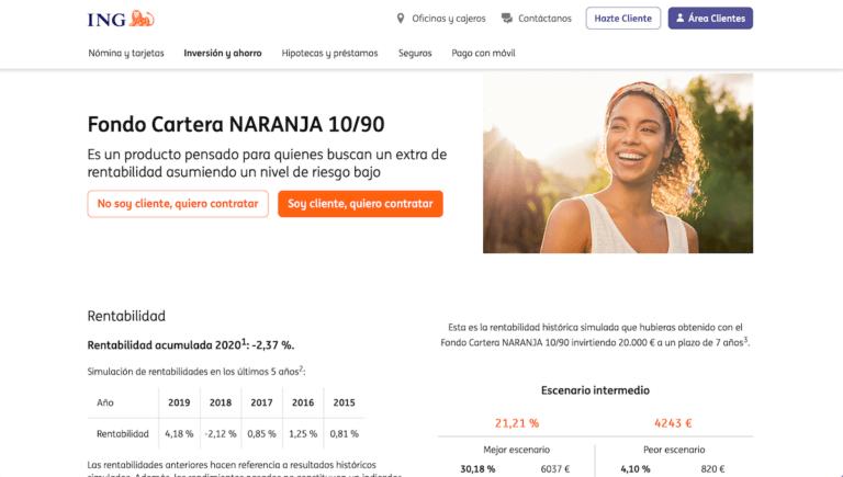 Página web de las Carteras Naranja de ING