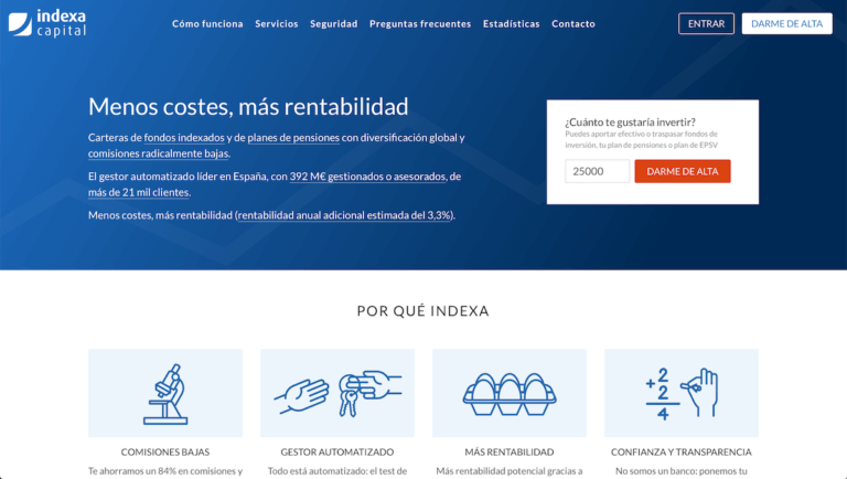 Página web de Indexa Capital