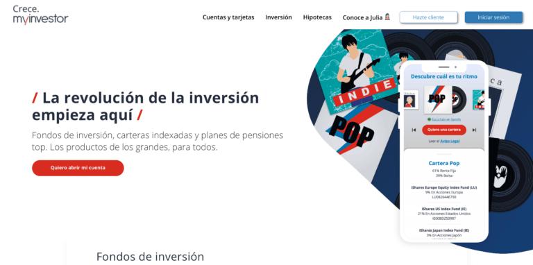 Página web de Myinvestor con el anuncio de roboadvisors