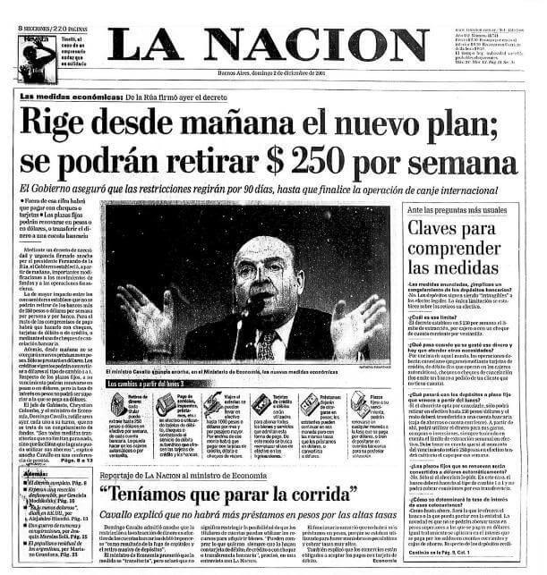 Portada de La Nación referente al corralito argentino de 2001