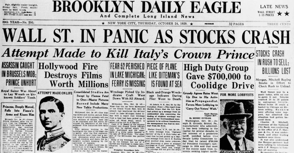 Recorte de prensa referente al Crack del 29 en la bolsa de Wall Street