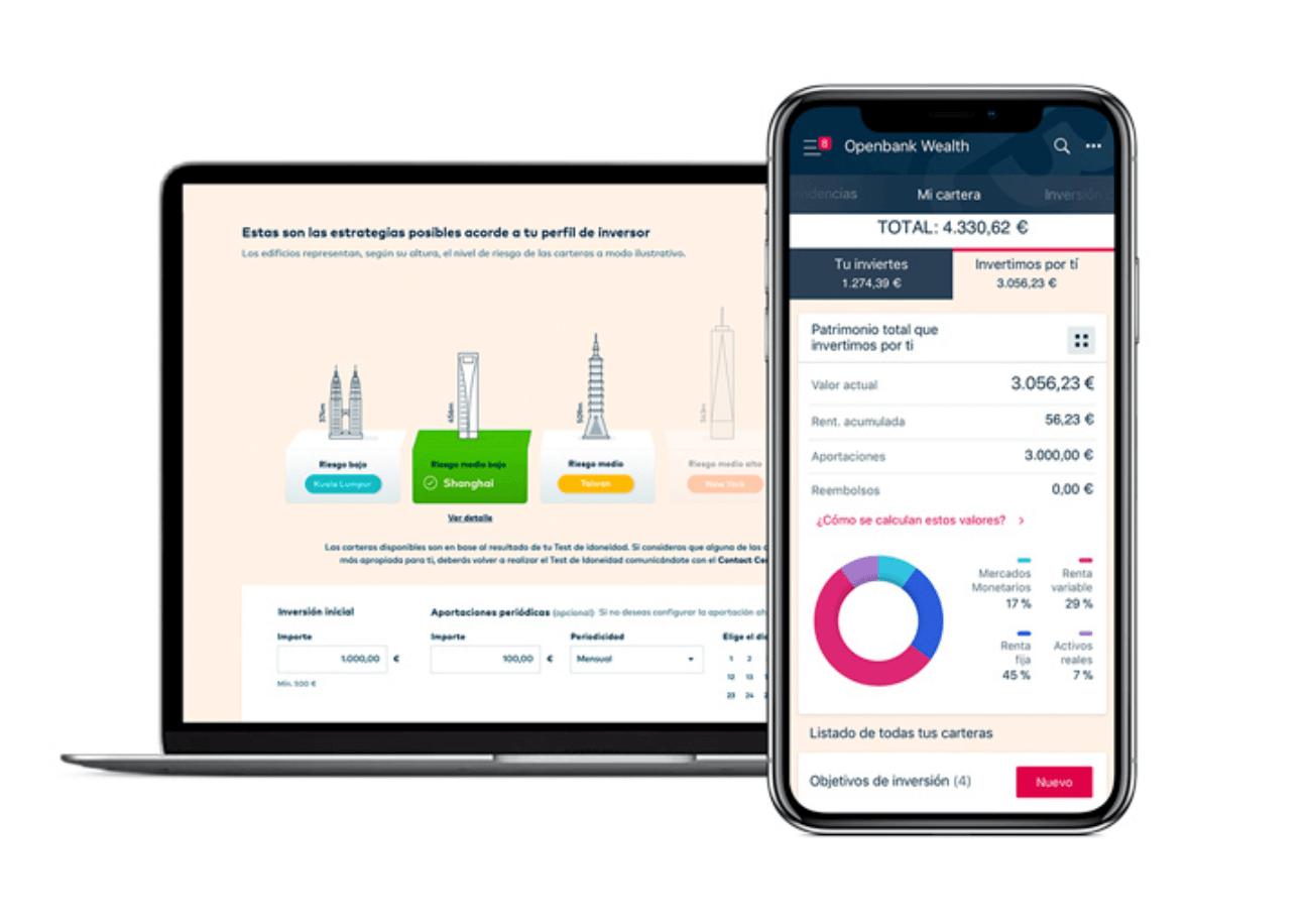 Imagen de la plataforma del roboadvisor de Openbank