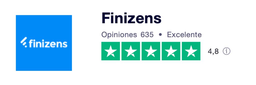 Puntuación de las opiniones de los clientes de Finizens: 4,8 sobre 5