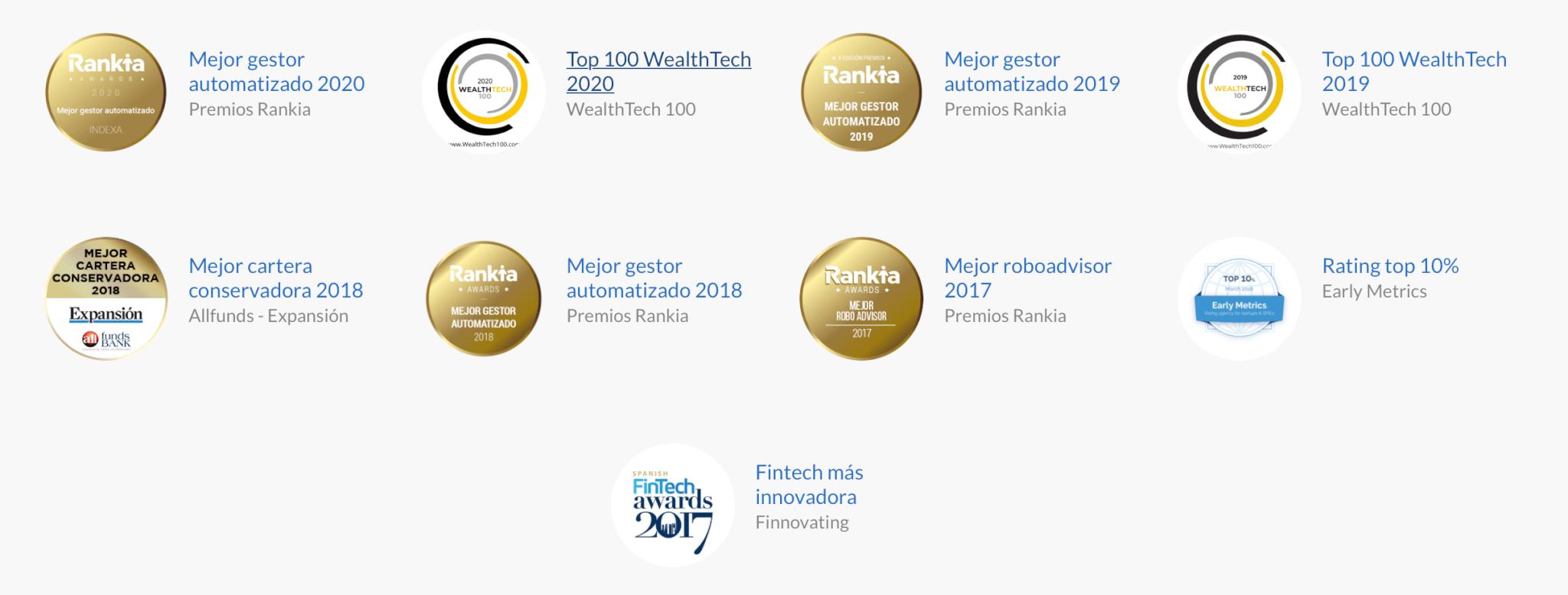 Premios otorgados a Indexa Capital