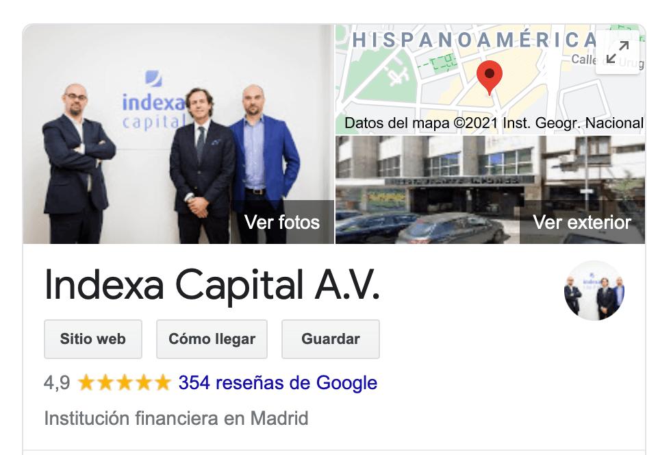 Opiniones y reviews de clientes de Indexa Capital en Google