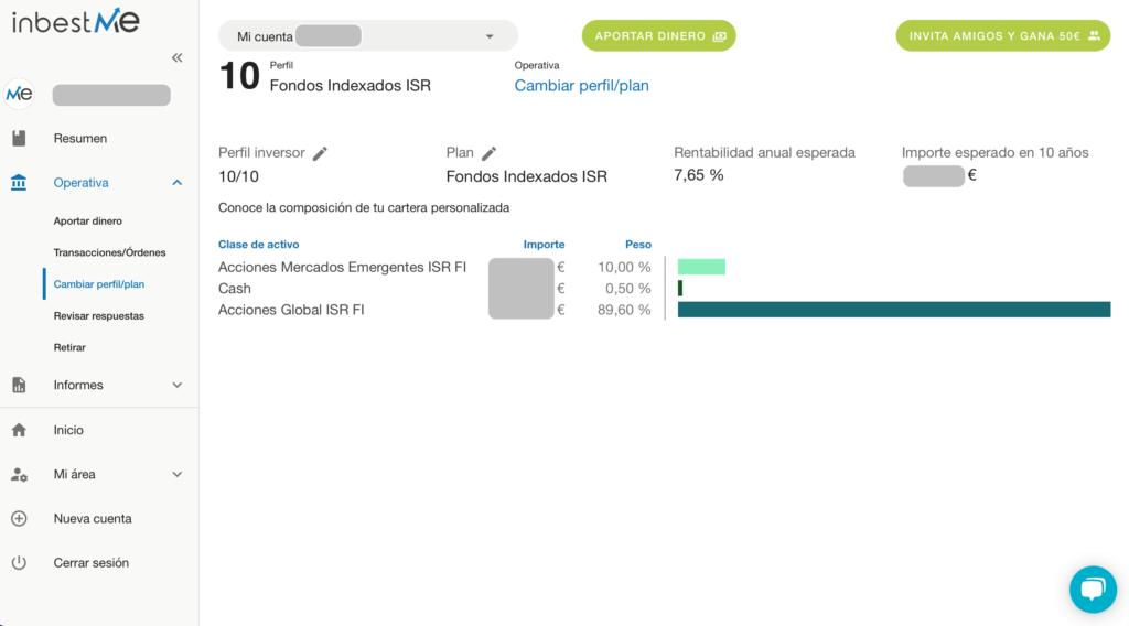 Detalle del perfil de inversión en InbestMe