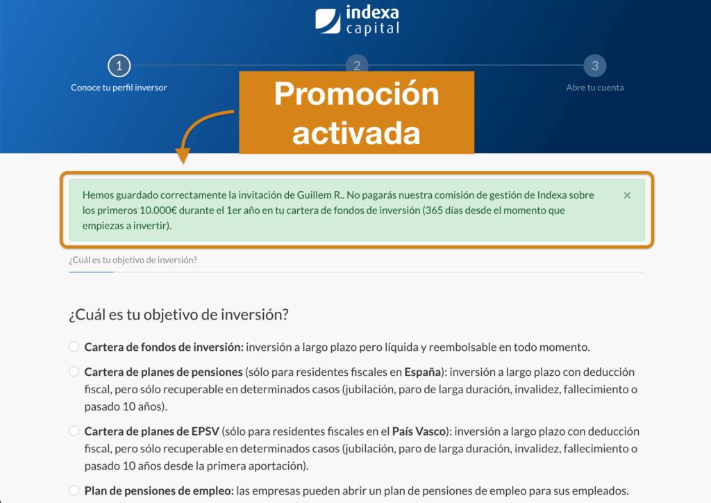 Banner de activación de la promoción de Indexa Capital