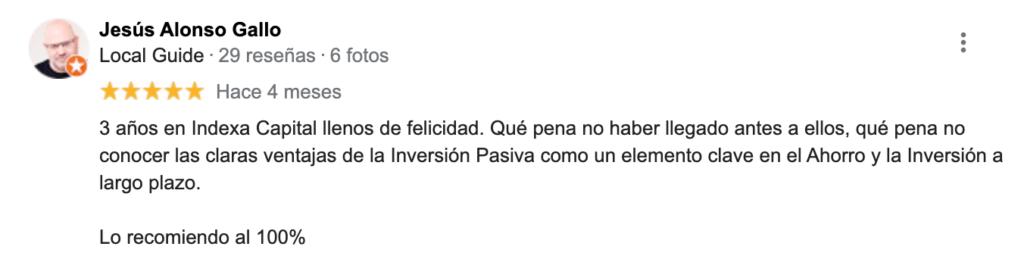 Reseña de Jesús Alonso sobre Indexa Capital
